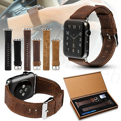 Vintage Genuine Leather Wrist Band Strap For Apple Watch iWatch 38/40/42/44mm UK