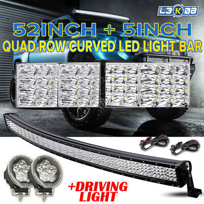 """50inch 960W PHILIPS Curved LED Light Bar 2x 5"""" Driving Lamp Offroad 4WD ATV 52"""""""