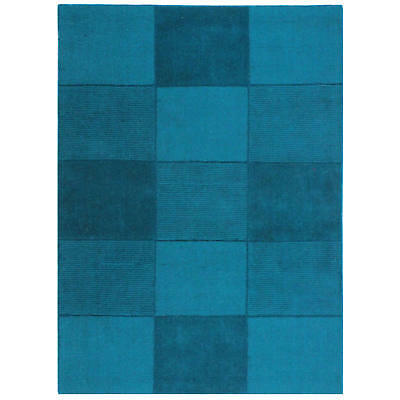 Oakland Wool Squares Rugs Teal Modern Contemporary Checked Squared Pattern Rug