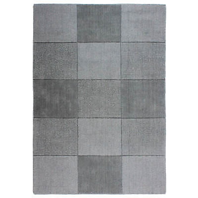 Oakland Wool Squares Rugs Light Grey Modern Contemporary Squared Pattern Rug