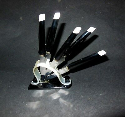 6 Art Deco Knives German Bauhaus Black Bakelite & Mother of Pearl? & Black Stand
