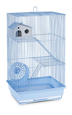 Hamster Gerbil Mouse Pet Cage 3 Level Rat Home Wire Small Animal Pet House Blue
