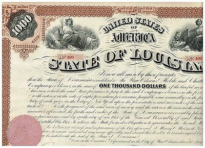 State of Louisiana, 1971, 1000$ Bond, uncancelled/ coupons