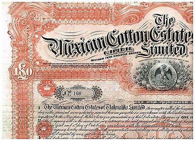 Mexican Cotton Estates of Tlahualilo, Ltd., 1903, LB 100, uncancelled/ coupon