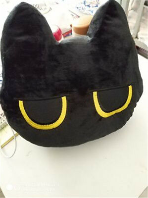 Japanese Game Neko Atsume ねこあつめ Cute Black Cat Head Gift Pillow Cushion Plush