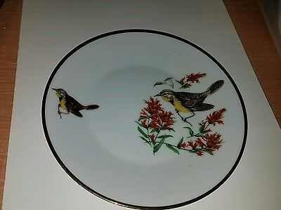 "Vintage JWK Fine China 7 1/2"" Plate with Birds Made in Western Germany"