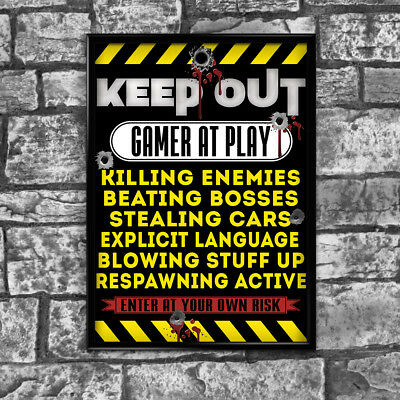 Gaming Gamer Door Poster Keep Out Gamer At Work Xbox Playstation Wall Art 001