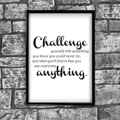 Motivational Inspirational Positive Quote Challenge Poster Print Wall 216