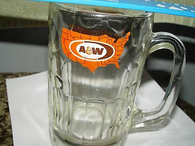 """Vintage A&W Root Beer HEAVY Glass MUG with U.S.A. Map Logo 5.75"""" Tall - 1972"""