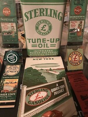 Rare Sterling Oil Can, (5) Matchbooks And Quaker State Bottle Cap - Grease Sign