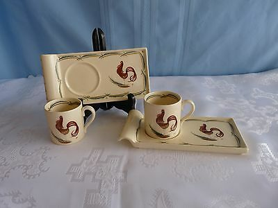 Susie Cooper LOT 2 SETS - SCO7 - Rectangle COCKTAIL SNACK TRAY CUP SET Rooster