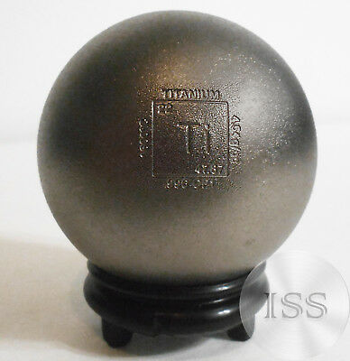 """Fine 2"""" Titanium Sphere, 10 oz .996 CP1 Pure, Textured with Elemental Stamping"""