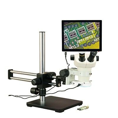 OMAX 6X-50X 5MP Touchpad Ball-Bearing Boom Zoom Stereo Microscope 144 LED Light