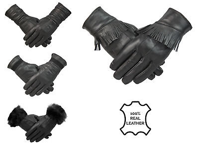 Womens 100% Black Leather Gloves Fleece Lined Warm Winter Ladies Retro Vintage