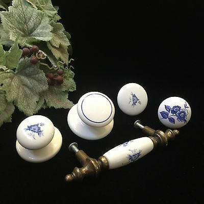 Vintage Belwith Porcelain Blue White Knobs Pull Assorted Lot of 5