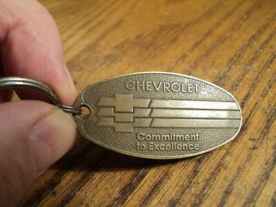 "Vintage Brass Chevrolet Commitment To Excellence Keychain Fob - 2"" Long"