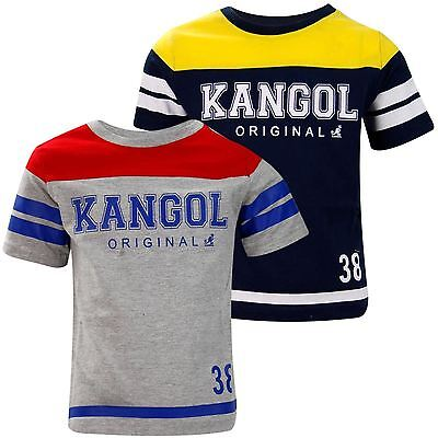 Kids Boys Kangol Branded Printed Regular Crew Neck Casual Cotton T-shirt Top