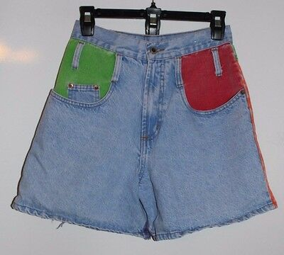 Vintage Steel Jeans Womens Jean Shorts Size 7 Color Block  Distressed