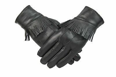 Womens Ladies Black Leather Tassel Gloves Western Fleece Lined Retro Vintage