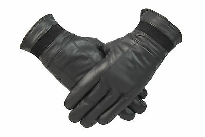 Womens Ladies Black Genuine Leather Gloves Fleece Lined Retro Vintage Suede Trim