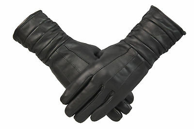 Womens Ladies Black Genuine Leather Longline Gloves Fleece Lined Retro Vintage