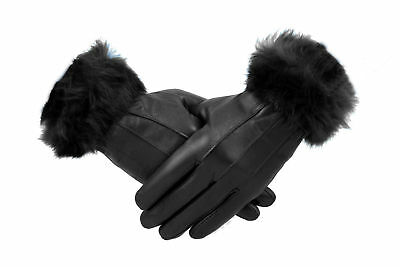 Womens Ladies Black Genuine Leather Fur Gloves Fleece Lined Retro Vintage