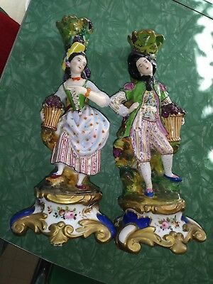 Antique French Pair Of Figurine Spill Vases, Approx. 13 in. High , Very Rare