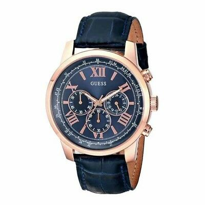 Guess Mens Horizon Blue Leather Chronograph Watch W0380G5