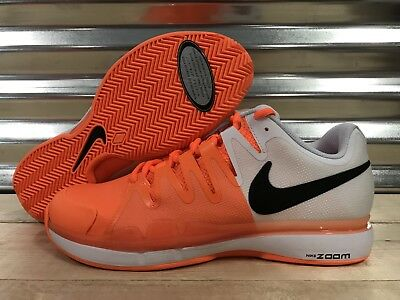 Nike Vapor 9.5 Tour Federer Tennis Shoes Clay Tart Orange White SZ (631457-801)