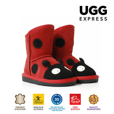 UGG Kids Ladybug Deluxe Australian Sheepskin Boots in Red, Playful Funny Comfy