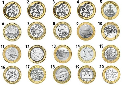 Various 2 Pound Coins From The £2 Uk Coin Hunt