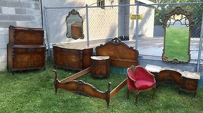 1920's FRENCH STYLE INLAID CARVED MARBLE TOP MAHOGANY 8 PC. BEDROOM SET