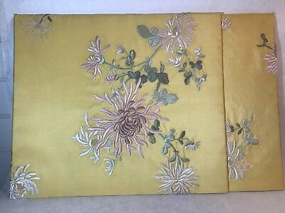 Antique Vintage Placemat Folder Embroidered Silk Portfolio