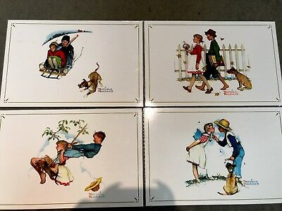 4 Norman Rockwell Prints Young Love Set Plastic Laminated Placemats