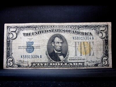 1934-A $5 North Africa Silver Certificate ✪ Vg Very Good ✪ 304 L@@k Now◢Trusted◣