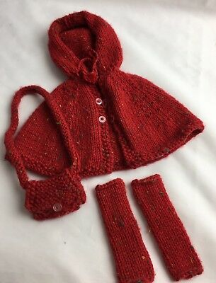 """American Doll Sized Hand Knitted Cape Leggings Purse  Fits 18"""" Doll Ships Free!"""