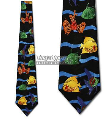 Fish Stripe Tie Colorful Neckties Mens Colorful Fishes Ocean Neck Ties NWT