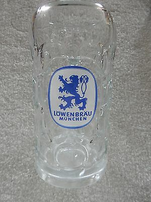 VINTAGE LOWENBRAU (1) Liter GLASS Beer Mug / OCTOBERFEST/ DIMPLED/ MINT