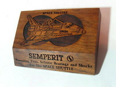 Vintage SEMPERIT Tires for Space Shuttle Wood Carved Advertising Paperweight.
