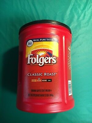 Large 48oz Empty Red Folgers Plastic Coffee Can Container Kitchen Empty