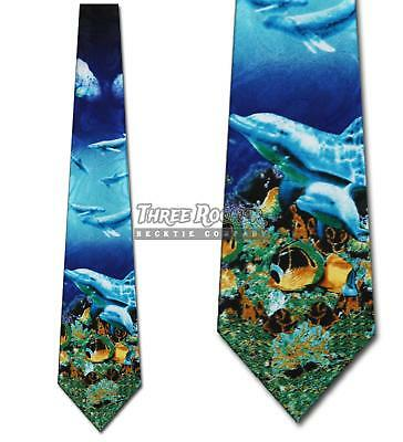 Fish Tie Underwater Neckties Mens Dolphin Whales Fishes Neck Tie NWT