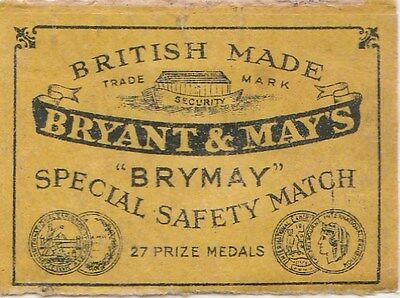 ancienne étiquette allumettes bryant & may's british made /1774