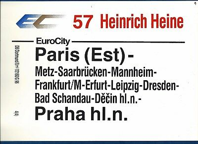 Plaque De Direction Chemins De Fer Allemand Paris Est-Prague (Double Face)