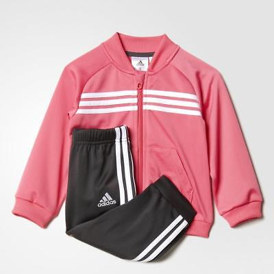 adidas girls infant 3 stripe pink polyester tracksuit. Jogging suit. Sizes 0-3Y
