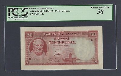 Greece 50 Drachmai 1-1-1939 P107ct Color Trial About Uncirculated