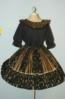 Square Dance Outfit - Black and Gold 2 Piece with Man's Matching Tie