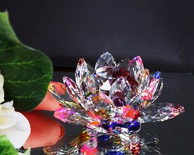 Large Crystal Cut Multi Lotus Flower Ornament With Gift Box For Christmas Xmas