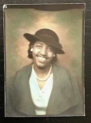 Antique African American Lovely Lady Photo Booth With Colors Black Americana