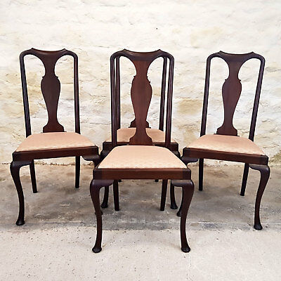Queen Anne Set of 4 Mahogany Dining Chairs C1910 (Edwardian Antique)