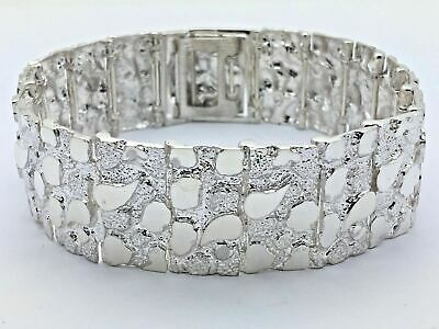 "Sterling Silver Solid Nugget Bracelet Adjustable 8.25"" 21mm 51.5 grams"